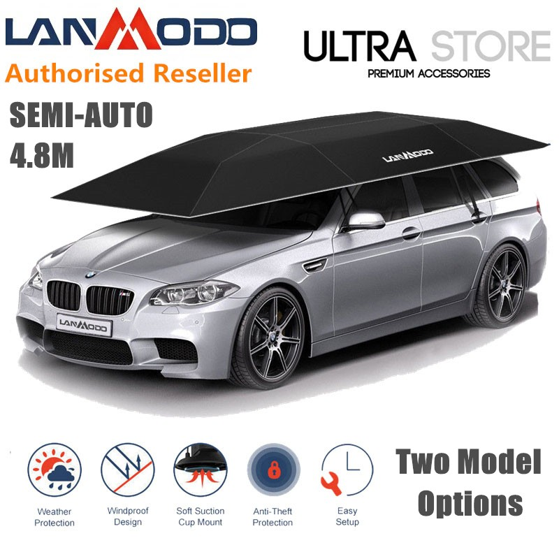 LANMODO PRO 4.8m Semi-Auto Car Tent Awning Roof Cover Pull-out Shade Umbrella