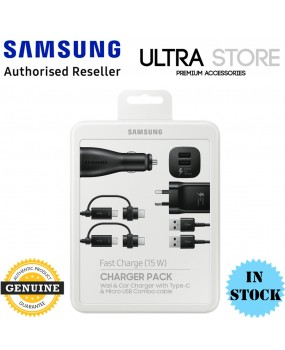 GENUINE Samsung Fast Charger Pack Wall & Car Charger USB C Micro USB Combo Cable