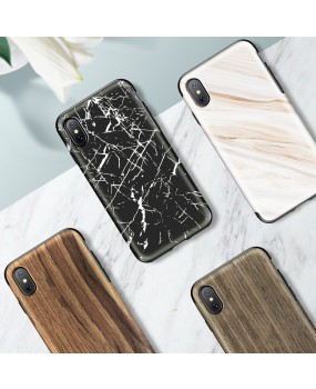 Rock Origin Wood Grain Hybrid Dual Layer Protection Cover Case for iPhone X / Xs