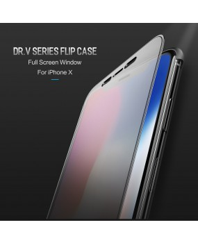 ROCK Dr.V Clear View Full Screen Window View Slim Smart Flip Case Cover iPhone X