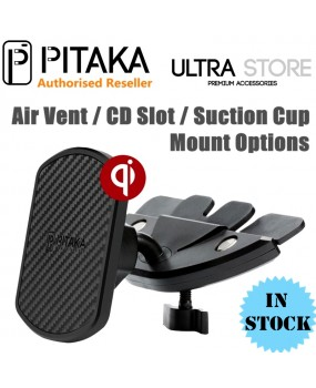 PITAKA Magnetic Qi Wireless Charging Air Vent/CD Slot/Suction Car Mount Holder