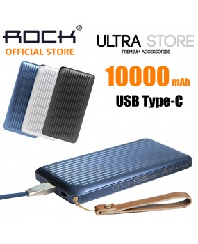 ROCK 10000mAh 3A USB C Type-C Metal External Portable Battery Charger Power Bank