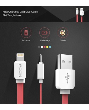 Genuine ROCK 1M Lightning High Speed Data Charging Flat Cable iPhone X 8 7 6 5